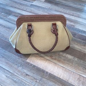 Elliott Lucca Tan Shoulder Bag with Wicker Accents